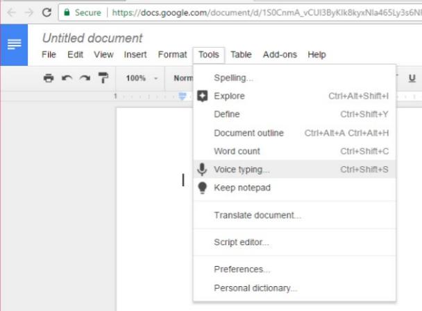 Google Docs Voice Typist